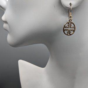 Tory Burch Gold Tone Drop/Dangle Logo Earrings
